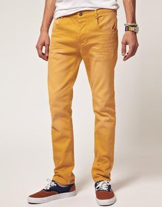 Yellow jeans wearing well with a blue/brown dual tone sneaker. Radiant and energetic but not jarring.