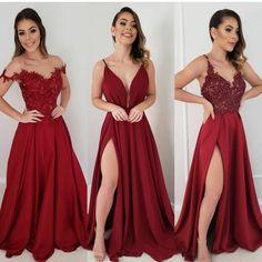 Image may contain: 3 people, people standing Cute Prom Dresses, Red Wedding Dresses, Grad Dresses, Dance Dresses, Elegant Dresses, Pretty Dresses, Homecoming Dresses, Beautiful Dresses, Evening Dresses