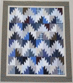Quilt made from client's husband's shirts.  Valerie Custom Quilting