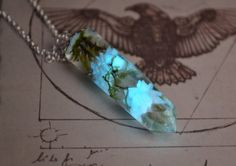 Glow in the dark necklace / Glowing Necklace /Crystal Point Necklace / Real Flowers Necklace / Real moss pendant