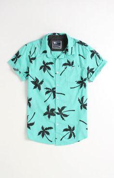 Modern Amusement Al Palm Print Short Sleeve Woven Shirt at PacSun.com
