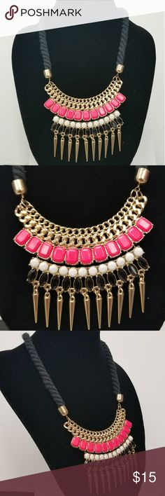 Punk Pink Rope & Spikes Statement Necklace NWOT  Rope Twist  Hot Pink/White/Black Stones  Dangly Spikes at the End  Gold Chain Detail Jewelry Necklaces