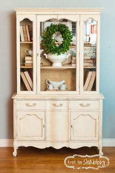 Old White China Cabinet | Chalk Paint® | #knottooshabby #chalkpaint #anniesloan