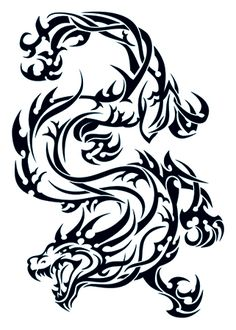 Tribal Dragon Tattoo #temporary #tattoo #tribal #dragon #t4aw #tattoos