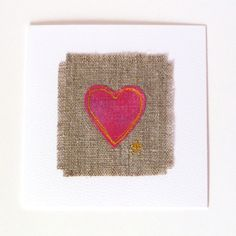 Greetings card for someone special. With freehand embroidered vibrant pink heart on natural linen. Valentine card or anniversary card. by TheSewingTortoise on Etsy