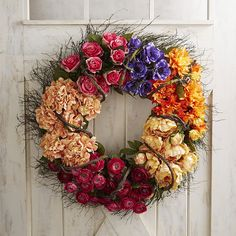 """Faux Spring Colorblock Oversized 32"""" Wreath"""