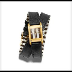 Henri Bendel sold out Carrie wrap watch Black external band with Henri's signature brown stripe on the inside- gold tone face with signature gold and silver tone logos! henri bendel Accessories Watches