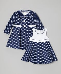 Gerson & Gerson Navy Polka Dot Dress & Coat - Infant, Toddler & Girls Plus | zulily