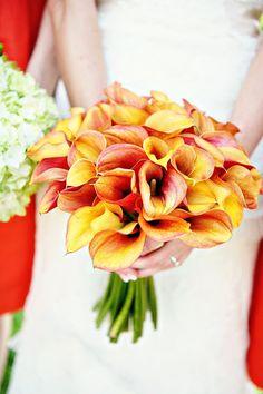 orange calla lily bouquet, calla lilies, calla lily bridal bouquet