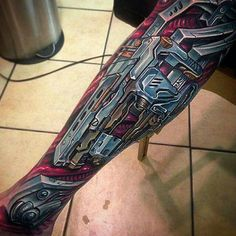 Tattoo by Tattoos by Roman   Halo Tattoo   Bio Mechanical Tattoos