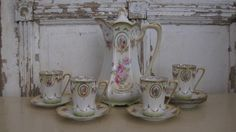 Vintage teapot, teacups, R.S. Prussia, Germany, Victorian, Marie Antoinette, chocolate pot, English roses, pink, gold, Shabby Chic by jemsbyjennym on Etsy