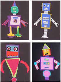 The Rolling Artroom: Shape Robots Grade) First Grade Art, 2nd Grade Art, Shape Collage, Shape Art, Kindergarten Art Lessons, Art Lessons Elementary, Craft Projects For Adults, Math Art, Art Lesson Plans