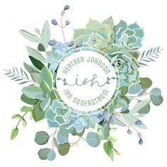 Succulent Custom Wedding Logo for a garden wedding. This logo lives on invitations, save the dates, website, thank you cards, program, menus, and more.
