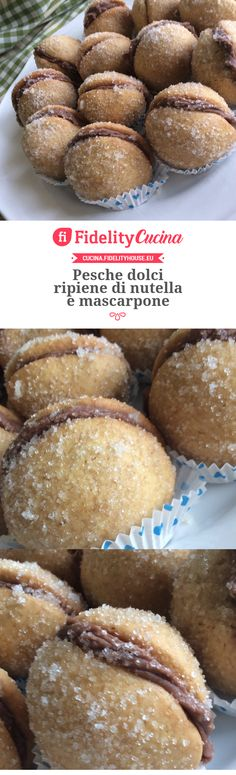 Pesche dolci ripiene di nutella e mascarpone Xmas Cookies, Cake Cookies, Biscotti Cookies, Little Cakes, Cannoli, Mini Desserts, Cake Pop, Food Porn, Food And Drink