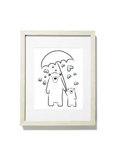 'It's raining love' Boris Illustration - Scandinavian Bear & Bub Print