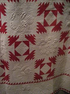 Pine Burr, 1859.  The quilting... #vintagequilts
