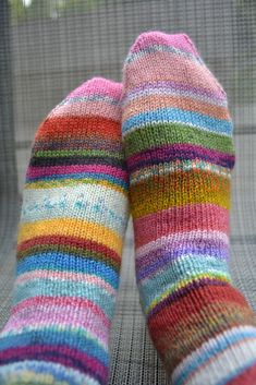 Leftover yarn striped socks