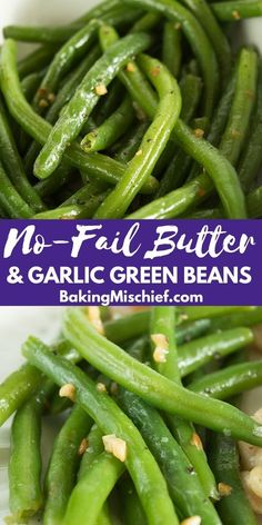 No-fail Butter and Garlic Green Beans These Butter and Garlic Green Beans are perfectly cooked and tossed with butter and toasted garlic. They're a quick, easy, and delicious vegetable side dish. Veggie Side Dishes, Side Dishes Easy, Vegetable Dishes, Side Dish Recipes, Fresh Green Bean Recipes, Cooking Fresh Green Beans, Baked Green Beans, Bbq Green Beans Recipe, Sauerkraut