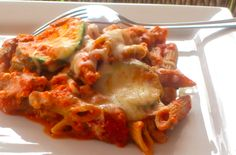 Skinny Slow Cooker Zucchini Ziti -
