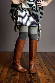 tall flat brown boots and stripes