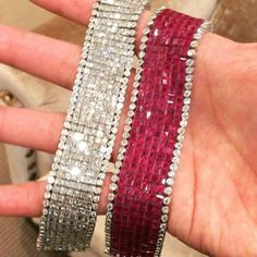 Obsessed with these super flexible, super sparkly diamond and ruby bracelets by Aletto Brothers