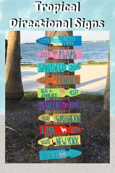 Tropical Directional Sign Liven up your ho-hum outdoor living area with tropical destination signs t Coastal Colors, Coastal Style, Driftwood Beach, Directional Signs, Great Conversation Starters, Great Housewarming Gifts, Beach Signs, Outdoor Living Areas, How Are You Feeling