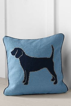 Dog needlepoint. via Lands' End