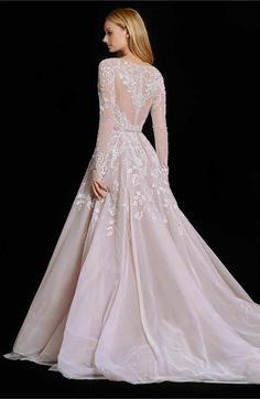Hayley Paige Hayley Embellished English Net & Tulle Long Sleeve Ballgown, $5,000