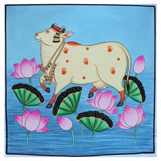 Beautifully hand painted cow painting on cloth,traditional wall decor Traditional Wall Decor, Traditional Art, Traditional Paintings, Cow Painting, Fabric Painting, Painting Patterns, Fabric Art, Pichwai Paintings, Indian Paintings