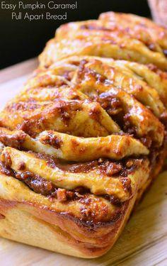 Easy Pumpkin Caramel Pull Apart Bread | from willcookforsmiles.com #pumpkin #bake #bread