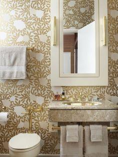 Bathroom Design | Glam Bath | Leaves Wallpaper | Brass Metal | Interior Decor | Design Trends