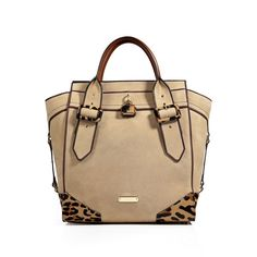 BURBERRY LONDON Leather/Haircalf Manor Tote In Honey