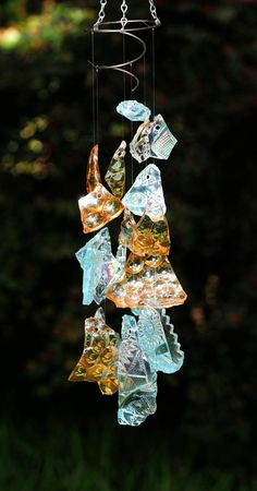 Glass wind chime  tumbled sea glass chime  hanging by StellaErwins