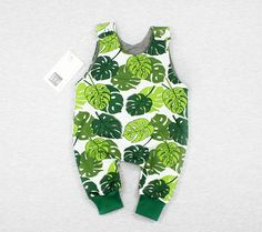 floral summer romper baby outfit, monstera newborn floral romper, woodland baby romper, newborn baby outfit, baby clothes, newborn outfit