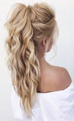 DIY Ponytail Ideas You're Totally Going to Want to 2019 Adorable Ponytail Hairstyles; Classic Ponytail For Long Hair; Dutch Braids To A High Pony;High Wavy Pony For Shoulder Length Hair Wedding Hairstyles Half Up Half Down, Wedding Hairstyles For Long Hair, Hairstyles For Bridesmaids, Straight Hairstyles For Long Hair, Straight Updo, Long Hair Dos, Half Up Half Down Hair Prom, Half Up Curls, Long Curls