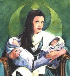 Leia Organa Solo with twins: Jacen and Jaina Solo. Image may be subject to copyright. starwars.wikia.com | Optimystique1
