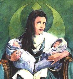 Star Wars Galaxy: Series 3 (Promo) by Topps: Princess Leia Organa with Twin Babies Star Wars Books, Star Wars Art, Darth Caedus, Jacen Solo, Thrawn Trilogy, Han And Leia, Love Stars, Anime, Fan Art