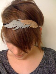 Eco Friendly Felt Feather Headband in Tan and Grey $12.00 #accessory #hair #etsyfollow