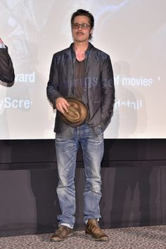 Brad Pitt surprised everyone at the NYC screening of Fury on Tuesday night.