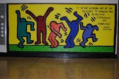 Great idea for a middle school mural project, incorporating body shape, abstraction, use of text/symbolism...