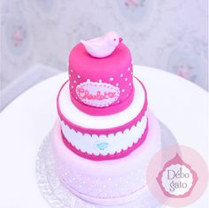 Pièce montée, Oiseau, Piou Piou, Gâteaux personnalisés, Paris, Anniversaire, Cake design, Cake shop, Girly, Rose, Fushia, Pastel, Pois