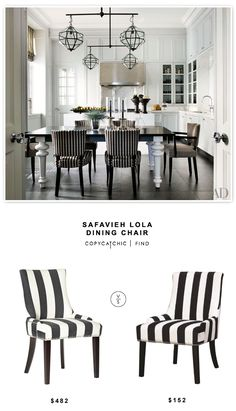 @overstock Safavieh Lola Dining Chair $482 vs Coaster Striped Chair $152 | look for less by Copy Cat Chic