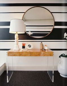 Decorating With Mirrors: Home Decorating interior design 2012 house design home design Lucite Desk, Lucite Furniture, Wood Furniture, Hooker Furniture, Office Furniture, Paint Stripes, Wall Stripes, Black Stripes, Nautical Stripes