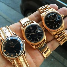 """""""Rainy day out with a fistful of vintage Cubano heat. A trio of """"deluxe"""" rose gold beauties with black gilt dials. Vintage Rolex, Days Out, Gold Watch, Omega, 1950s, Rose Gold, Instagram Posts, Accessories, Beauty"""