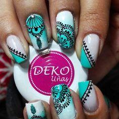 Resultado de imagen para deko uñas Blue Nails, White Nails, Nails 2018, Sexy Nails, Stamping Plates, Pretty Nails, Nail Colors, Nail Art Designs, Lily