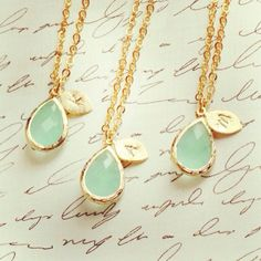 14K gold personalized necklace jewelry with gemstone tear drop initial charm #Handmade #dainty #mothersday