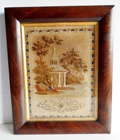 FINE ANTIQUE 19thC VICTORIAN WOOLWORK PICTURE - EMBROIDERY / TAPESTRY / SAMPLER