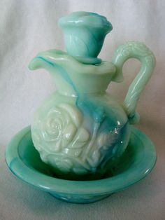 Vintage Avon Blue Green Glass Pitcher Shaped by BeadingFlutterby, $4.99