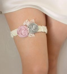 Wedding Garter - Ivory with Grey and Pink Roses (Or Pick Your Colors) - the Penelope Garter - Silk Bridal Garter. $32.00, via Etsy.