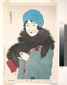 "Ito Shinsui, (Japanese, 1898–1972). Early Spring, from the series, ""Showa Women and Their Fashions"", 1941. The Metropolitan Museum of Art, New York. Gift of Lincoln Kirstein, 1959 (JP3299) #spring"
